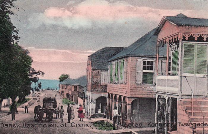 Håndkoloreret kort fra ca. 1908 af Kongens Tværgade