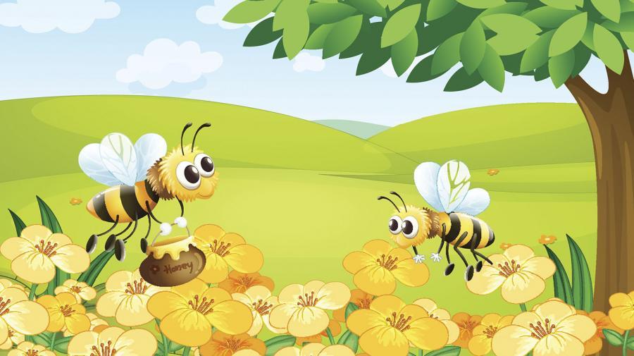 Illustration: Bier og blomster