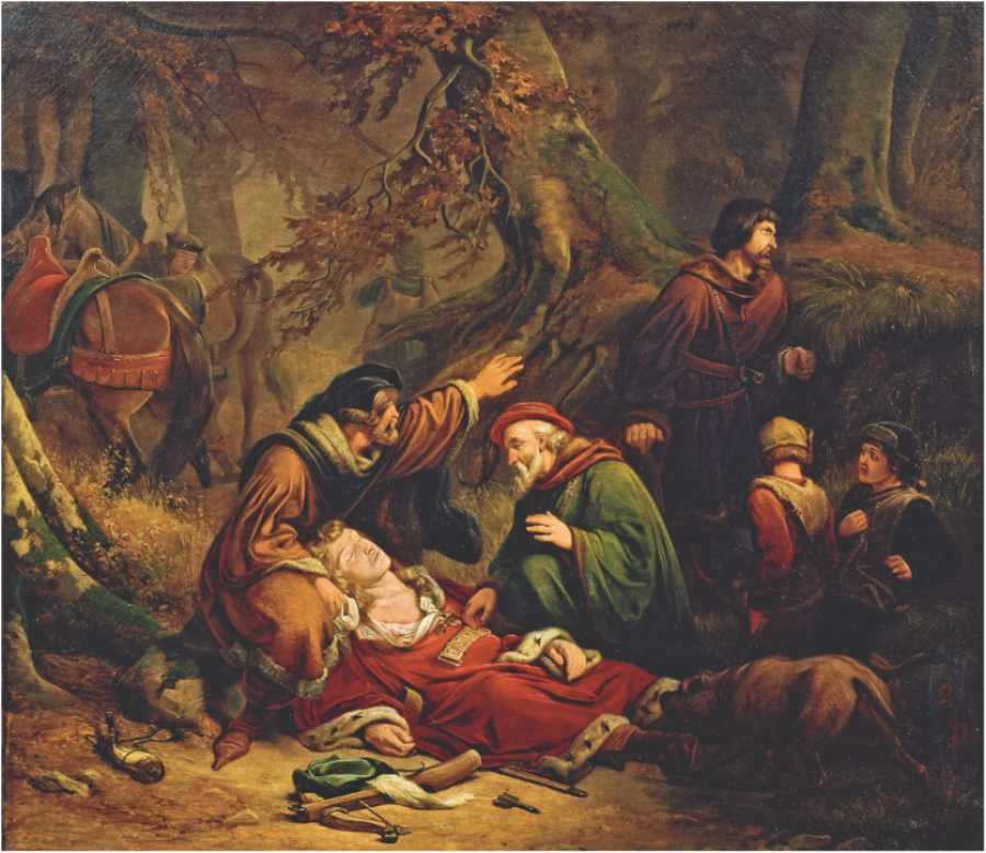 Maleri af C.E. Andersen: Valdemar den unges død