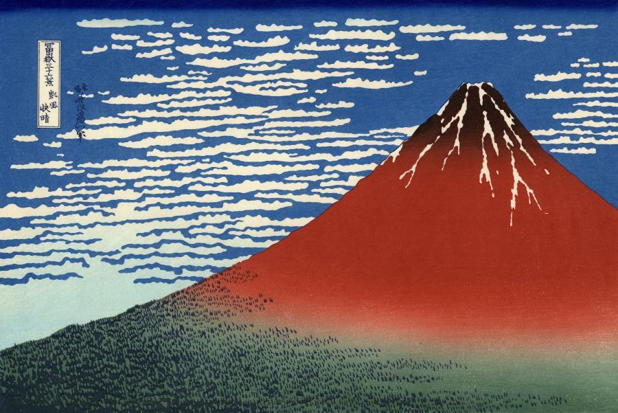 Katsushika Hokusai: 'South Wind, Clear Sky' (Gaifū kaisei), også kendt som 'Red Fuji'